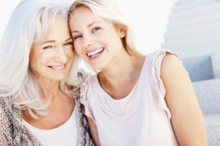 Elderly mom and adult daughter