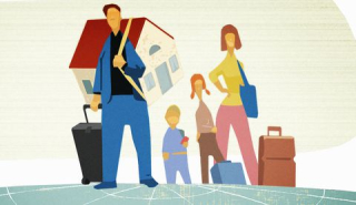 Family-carrying-house-and-luggage